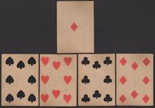 Old Antique CIVIL WAR ERA Square Corner Playing Cards Poker Hand 4 of a Kind 8's