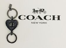 COACH Bag Sparkle Heart Turnlock Valet Key Chain Black Purse FOB Charm NWT 58512