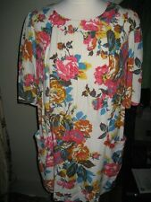 JOULES CREAM FLORAL SHORT SLEEVE VISCOSE TUNIC DRESS SIZE 10 VGUC