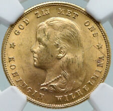 1897 Netherlands Kingdom Queen WILHELMINA Antique Gold 10 Gulden Coin NGC i87377