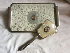 More details for vintage silver color dressing table vanity tray & hair brush cross stitch