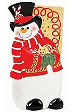Fitz & Floyd Sugar Coated Snowman Elongated Tray Canape Dish Plate
