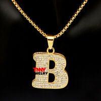 """24"""" Gold B Letter Charm  Bling Pendant Necklace for Men Hip Hop Jewelry"""