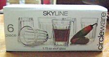 Set Of Six Skyline Circleware 1.75 oz Shot Glasses (New)