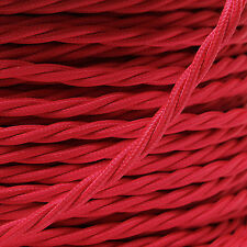Braided Cloth Twisted Wire Flex 3Core 6Amp Double Insulated in Bright Red