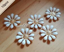 10pcs Daisy Flower Flatback Metal Buttons Cabochons Bling Embellishment Findings