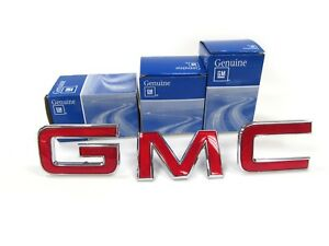 """OEM NEW Front Grille Emblem / Badge """"GMC"""" in Chrome & Red Colorado Jimmy Canyon"""