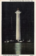 Put In Bay Ohio night scene Perry Memorial bird's eye view antique pc (Y9341)