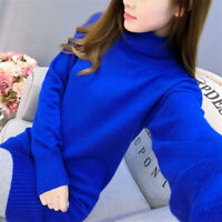 Winter Womens Slim Knitted Turtleneck Cashmere Long Sleeve Jumper Sweaters Dress