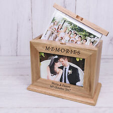 Personalised Wooden M.E.M.O.R.I.E.S Photo Album with sleeves Wedding Day 6x4