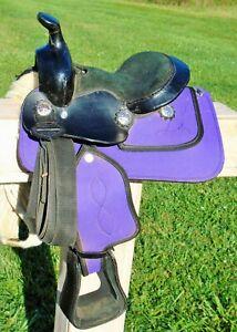 TOUGH 1 King Series Mini Miniature Horse / Pony Saddle~PURPLE~GREAT Cond~LGHT~NR
