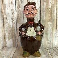 Vintage Scotsman Figurine Decanter Cup Holder Brown Ceramic Barware Man Cave