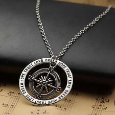 Dream Hope Trust Love Words Family Silver Compass Alloy Pendant Necklace Gift