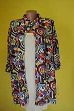 Vg PURE SILK Grunge L Oversize 8-16 Colourful Psychedelic Print Shirt Loose Fit