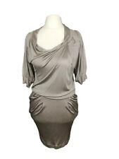 Vanessa Bruno Grey Silky Stretch Drop Waist Evening Party Slouch Dress Size S