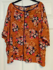 Marks and Spencer Orange Floral Print Plus Size Loose Fit Top With Stretch 22