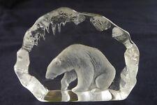 Mats Jonasson-Ours Polaire-Handmade cristal de plomb SCULPTURE PAPERWEIGHT