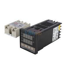 Dual Digital PID Temperature Controller + Max. 40A SSR + K Type Probe Sensor New