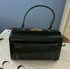 New listing Vintage Susan Gail Black Leather Box Frame Purse Handbag Gold Hardware Euc