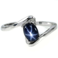 GENUINE AAA 6 RAYS STAR BLUE SAPPHIRE OVAL STERLING 925 SILVER RING SIZE 8.25