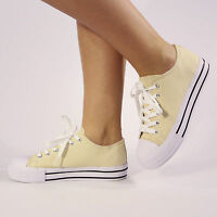 NEW WOMENS LADIES GIRLS FLAT LACE UP PUMPS CANVAS TRAINERS SHOES SIZE 3-8