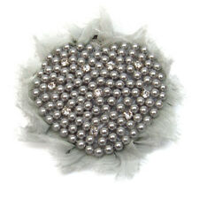 BROCHE COEUR strass cristal & perles imitation culture GRIS grise
