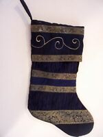 NAVY GREEN TRIM CHRISTMAS STOCKING DECORATION