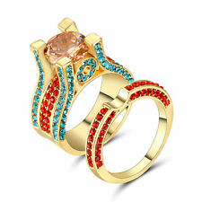 Multi-Color CZ Champagne Topaz Wedding Ring Set 10KT Yellow Gold Filled Size 9
