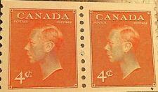 CANADA STAMP 4 CENTS GEORGE VI ORANGE - Lot of 2