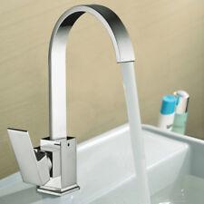 Cuisine bassin évier mitigeur Robinet carré Designer Style pivotant bec Argent