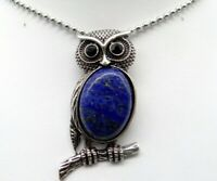 Natural lapis  Gem beads animal Owl Retro Silver Pendant necklace Jewelry P1