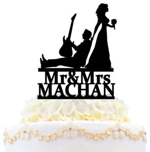 Personalized Guitar Wedding Cake Topper Mr And Mrs Musician And Bride Silhouette