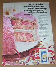 1968 print ad page - Baker's Coconut pink birthday cake recipe advertising