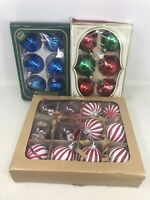 VTG 3 Boxes Christmas Tree Glass Ornaments Balls Shiny Bright Visions 24 Total