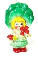 Southern Belle Ornament Green with Flowers Vintage Retro Decor