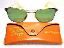 "RAY-BAN VINTAGE 1940/50s B&L *VERY RARE ""SIGNET"" 12k GF *MINT SUNGLASSES & CASE"
