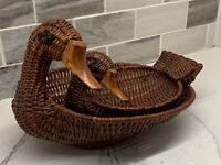 Wicker Duck Basket Set Of 2 Vintage Farmhouse Chic