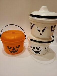 3 Vintage 1986 McDonalds 2 Ghost Buckets 1 Jack-o-lantern  Halloween Blow Mold
