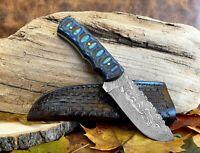 "Damascus Steel Handmade Fixed Blade Knife 8"" Full Tang Custom Wood Handle"