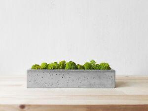 Concrete pot with moss. Housewarming gift. Artificial stone planters