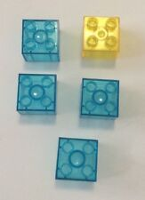 LEGO DUPLO Clear Translucent BLUE & YELLOW Bricks Blocks Water Ice Lot Of 5