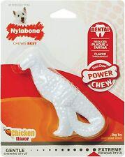 """Nylabone Extreme Dental Dinosaur Dog Toy 7"""" White Dinosaurs Chicken flavor T-Rex"""