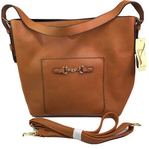 Collection Eighteen Cognac Hobo Bag Shoulder Purse W/ Detachable Bag Make Up