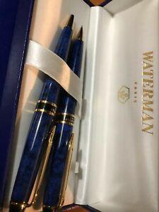 Waterman Expert II Set France Blue & Gold Ballpoint Pen & 0.5 Pencil  New In Box
