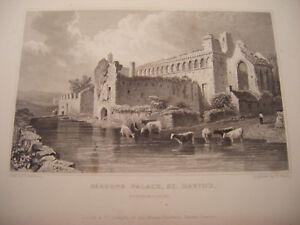1830 Antique Print BISHOPS PALACE St. DAVIDS - West Wales - Gastineau