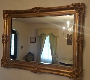 """Large French Victorian Gold Carved Ornate Picture Mirror 47"""" X 35"""""""