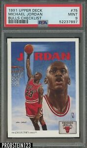 1991 Upper Deck #75 Michael Jordan HOF Bulls Checklist PSA 9 MINT