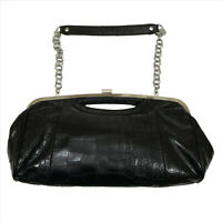 Aphorism Black Faux Crocodile Clutch Bag