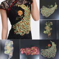 Phoenix Peacock Lace Dress Decor Applique Motif Lace Trim DIY Craft Embroidered