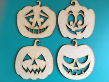 Halloween pumpkin faces PACK OF 4 craft blanks / embellishments 3mm thick